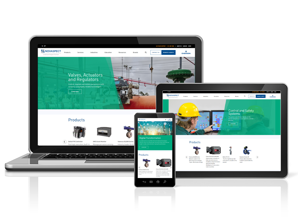 Midwest Valve Serivices' newly redesigned website viewed on various devices